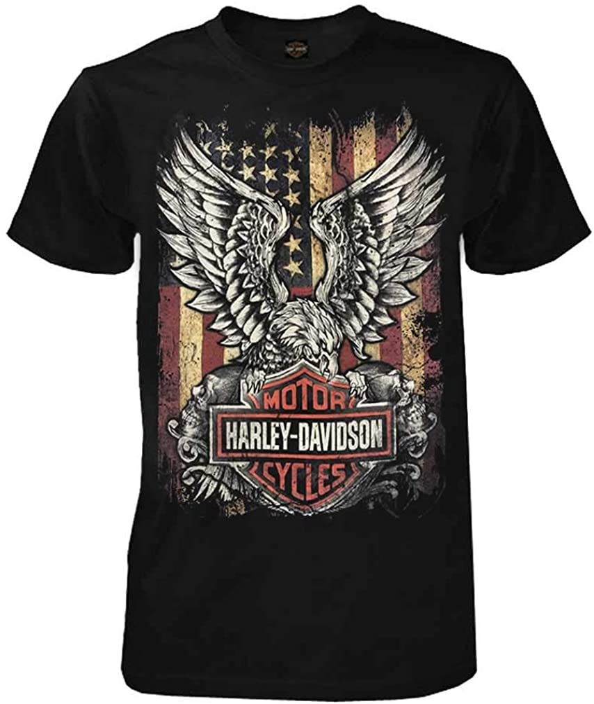 Black Harley-Davidson Mens Custom Freedom Short Sleeve Crew Neck Tee