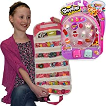 Season 5 Back Packs 12 Pack, Shopkins with a Compatible EASYVIEW Toy Organizer Case Bundle (Pink)