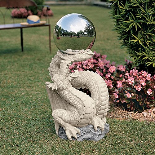 Design Toscano Sir Sagremor's Dragon Sculpture with Glass Gazing Orb