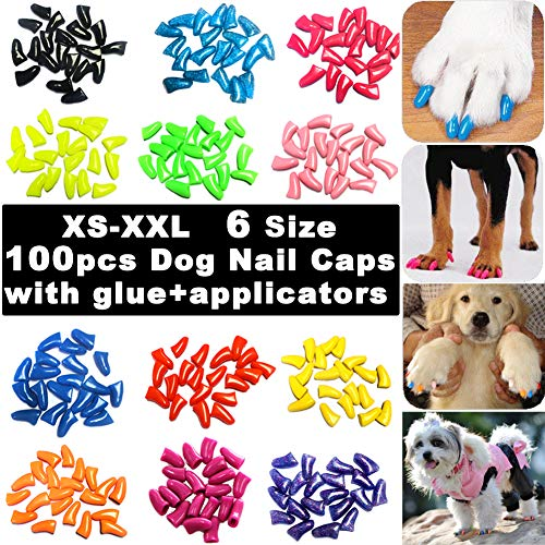 VICTHY 100pcs Dog Nail Caps, Glitter Colors Pet Dog Soft Claws Nail Cover for Dog Claws with Glue and Applicators, ()