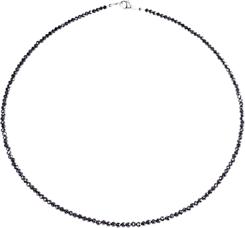 Piedra preciosa de la cadena de negro Espinela, 925oo mosquetón de plata, Aproximadamente 45 cm