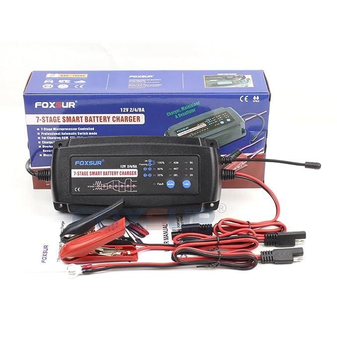 FOXSUR 12V 2A 4A 8A Cargador de batería inteligente de 7 ...