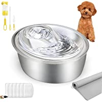 ORSDA Stainless Steel Cat Water Fountain, Pet Fountain Dog Water Dispenser, Ultra-Quiet Automatic Cat Drinking Fountains…