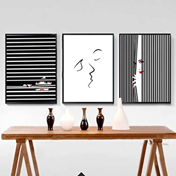 Zshscl Impresion En Lienzo Pintura 3 Piezas Moderno Minimalista