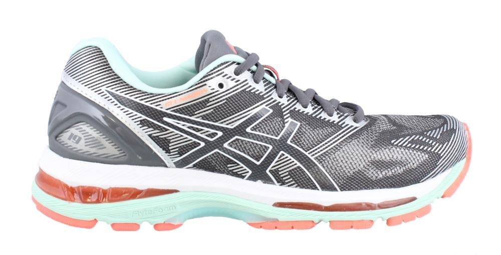 ASICS Women's Gel-Nimbus 19 Running Shoe, Carbon/White/Flash Coral, 8 D US