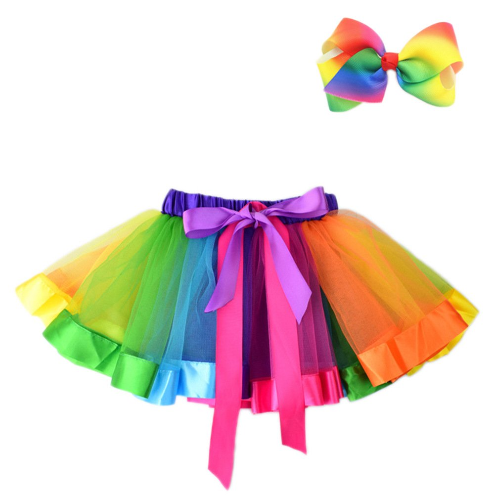 JiaDuo Baby Girls Layered Rainbow Tutu Skirt Dress Up with Colorful Hair Bow Multicolor M by JiaDuo