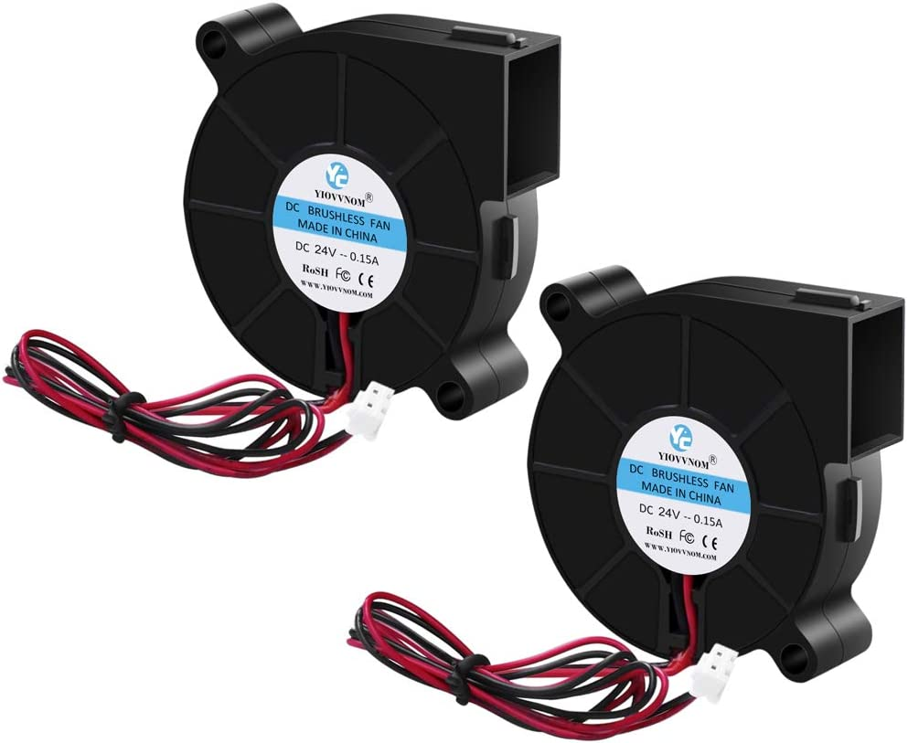 2pcs 5015 Dual Ball Bearing Cooling Blower Fan DC 24V 0.10A~0.15A with 2 Pin Connector 50mmx15mm Fans