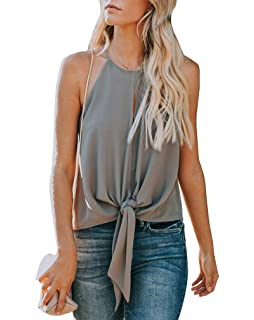 c6e331cdbe Topstype Women's Summer Sleeveless Crew Neck Tank Tops Camis Front Tie Knot  Casual Shirt Keyhole Front