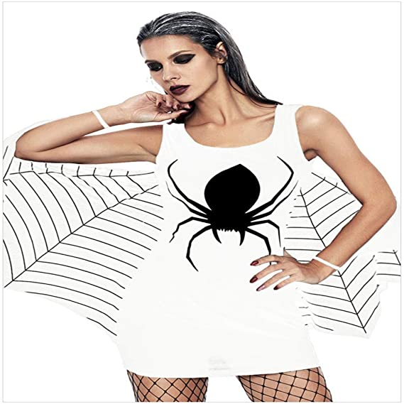 ZGCO Disfraz de Halloween Imprimir Falda Corta Sin Mangas Sexy ...