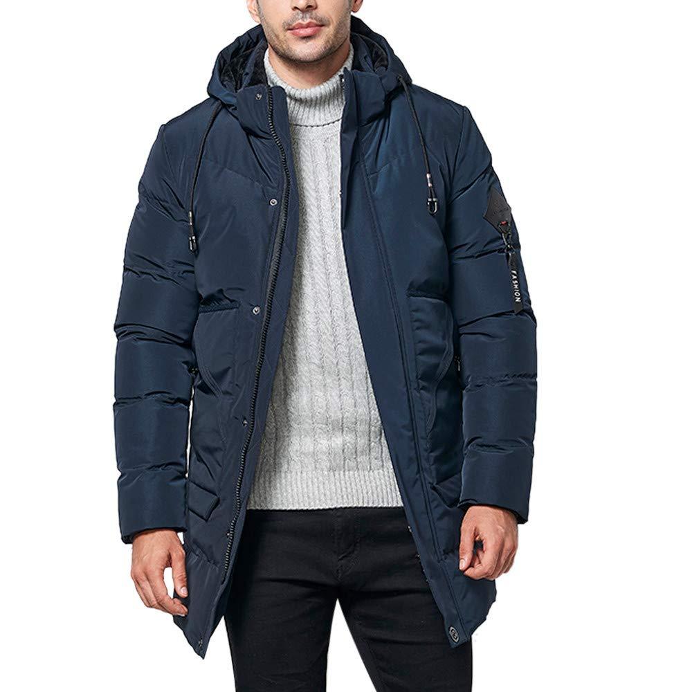 Kadola Men's Winter Fashion Medium Length Hooded Pocket Zipper Thickened Cotton Coat