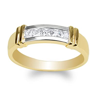 Mens 10K//14K Yellow Gold Two Tone Round CZ Embedded Wedding Ring Size 7-11