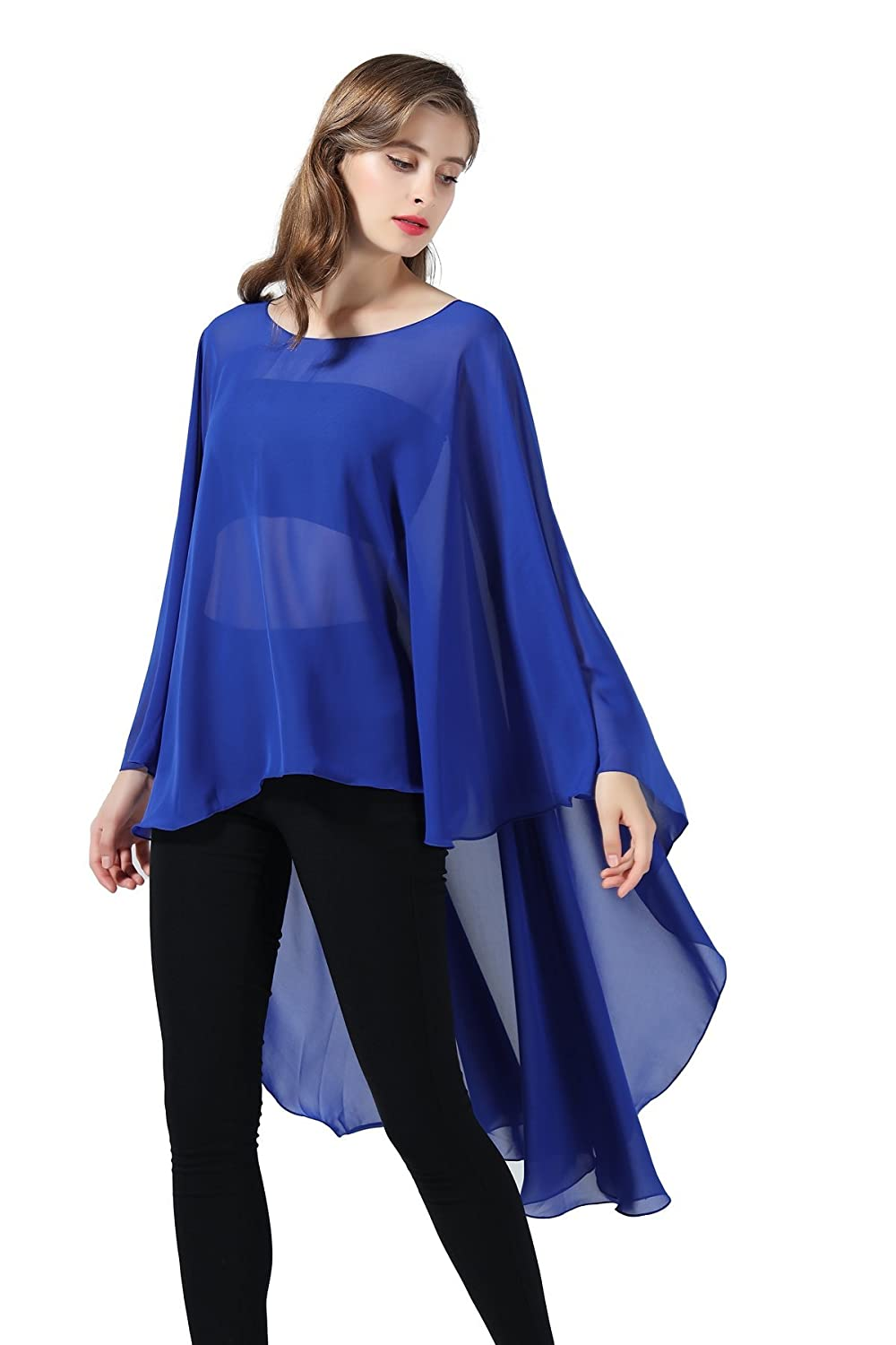 Chiffon Shawl Women Cape Beach Cover Up Wedding Tops Bridal Capelet Evening  Wraps Black at Amazon Women s Clothing store  8229808cb9af