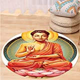 VROSELV Custom carpetMeditation Decor Collection Sanctuary Health Spa and Good Energy Lotus Flower Picture Print Bedroom Living Kids Girls Boys Room Dorm Accessories Pink Orange Round 72 inches