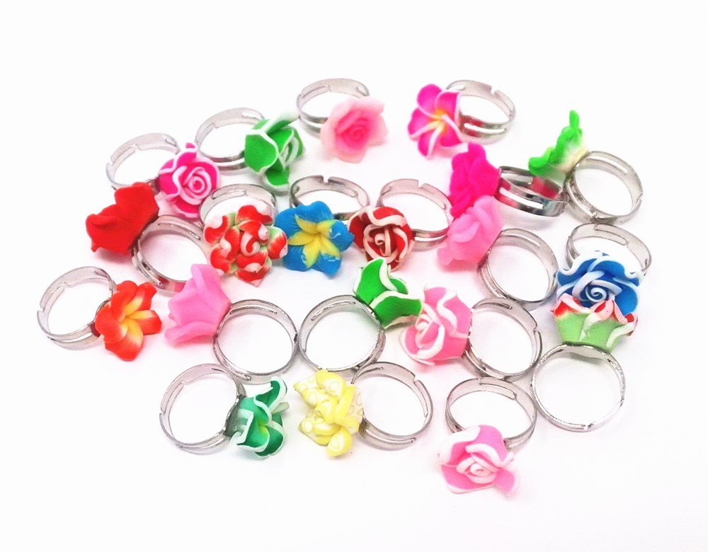 HONBAY 20pcs Assorted Polymer Clay Frangipani Flower Metal Toy Ring Girls Princess Jewelry Rings for Kids Birthday Party Supplies