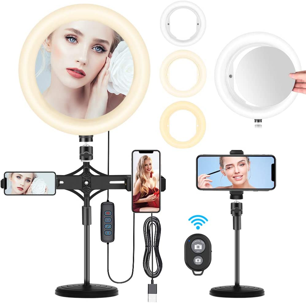 10'' Selfie Ring Light with Cell Phone Holder, Ring Light for Live Streaming/Makeup/Photography, 3 Light Modes & 10 Brightness Level, Compatible with iPhone/Android Phone, Come with Mirror (Upgrade)