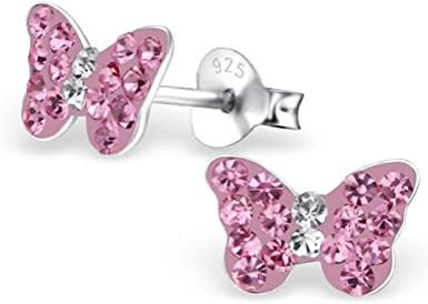 Star Glitzs Jewels 925 Sterling Silver Pendant and Earrings Jewelry Gift Set for Women Pink CZ
