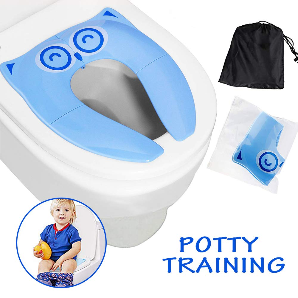 Potty Training Seat, Binwo Folding Non Slip Silicone Pads, Travel Portable Reusable Toddler Toilet Seat, Potty Seat Covers Liners mit Carry Bag für Babies, Toddlers und Kids (Blue)
