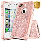 NageBee [Glitter] Case Compatible with Apple iPhone 4 / iPhone 4S w/[Screen Protector HD Clear] Shiny Bling Sparkle Luxury [Heavy Duty] Shock Proof Hybrid Protective Gilrs Cute Case -Rose Gold
