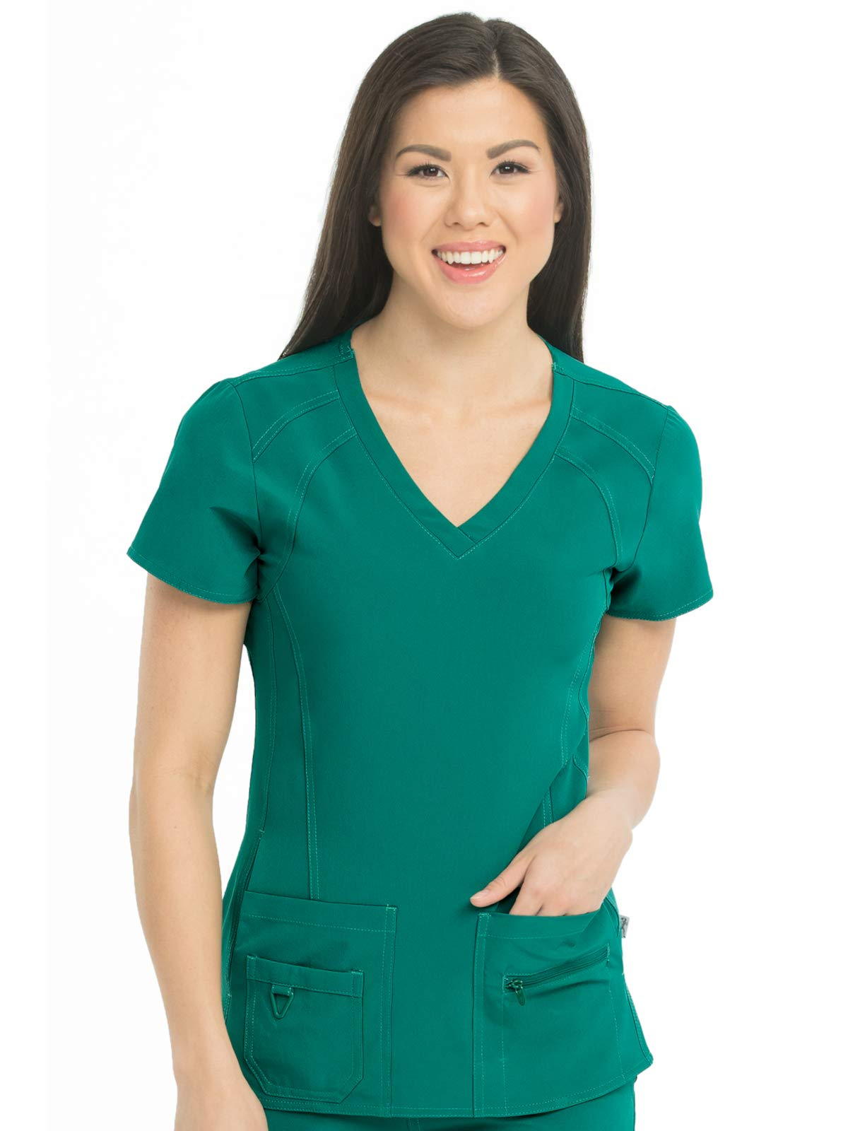 Med Couture Women's 'Activate' V-Neck Refined Sport Knit Scrub Top, Hunter, Large by Med Couture