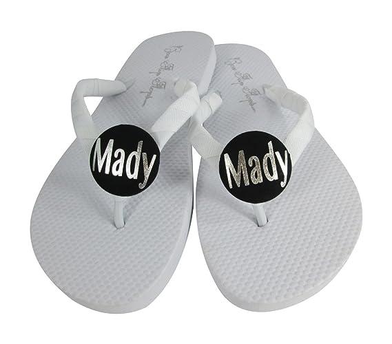 3273196f8621 Amazon.com  Personalized Name Flip Flops Customizable Choose Color Sandals  Black White  Handmade