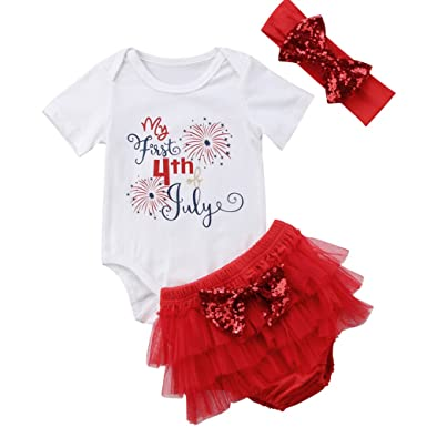 cb7a373edba6 Amazon.com  ONE S Baby Girls My First 4th of July Outfits Short ...