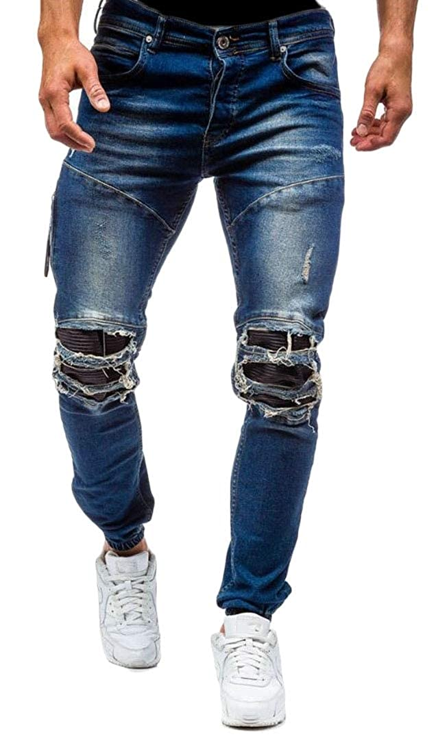 Qiangjinjiu Men Casual Moto Retro Denim Pants Distressed Ripped Biker Slim Fit Jeans