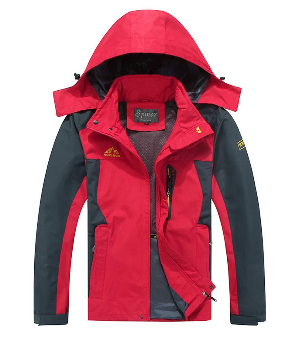 Spmor Men's Outdoor Sports Hooded Windproof Jacket Waterproof Rain Coat Red Small