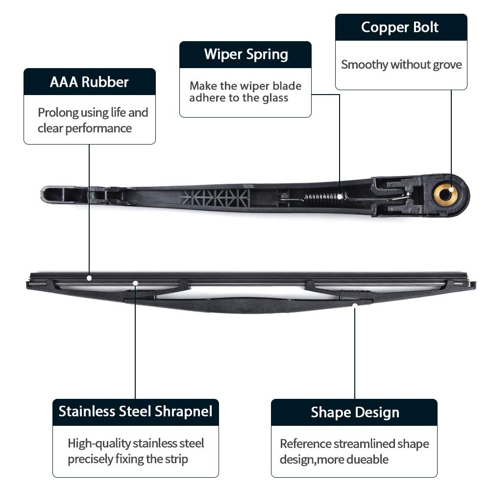 for 2007-2017 Acura RDX Rear Wiper Arm Blade MIKKUPPA Back Windshield Wiper Assembly Replacement All Season Natural Rubber Cleaning Window