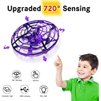 Hand Operated Drone with 720° Rotating for Kids, WEW Outdoor Hands Free Toys, Mini Drone Helicopter,Flying Ball Drone Toys for Boys Girls Teenagers - Purple