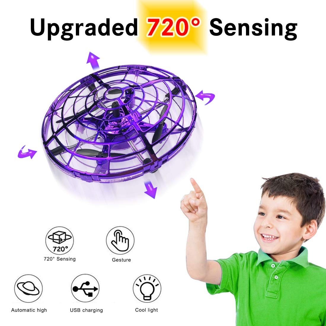 Hand Operated Drone for Kids Gift, WEW 6 Magical Senors Hands Free Toys Mini Drone Helicopter, Flying Ball Drone Toys Gift for Boys Girls Teenagers - Purple by WEW