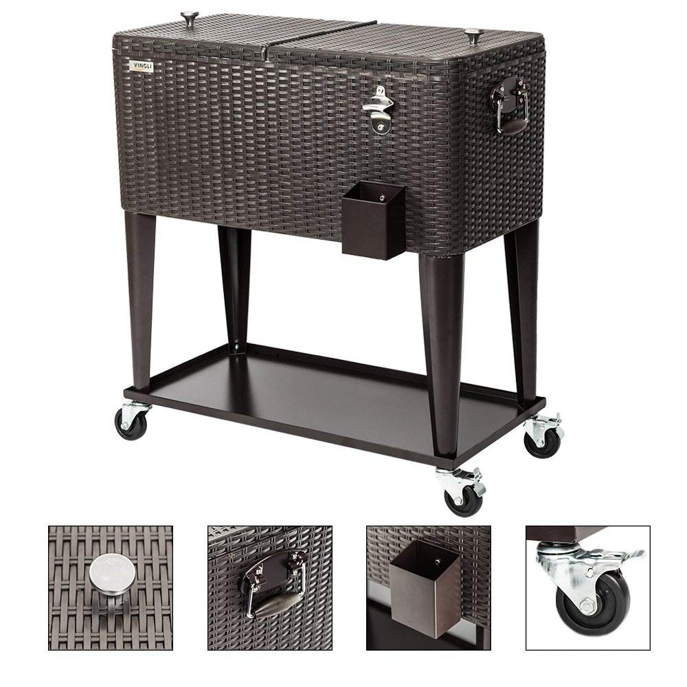 VINGLI Ratten 80 Quart Rolling Ice Chest on Wheels, Portable Patio Party Bar Drink Cooler Cart, with Shelf, Beverage Pool with Bottle Opener,Water Pipe
