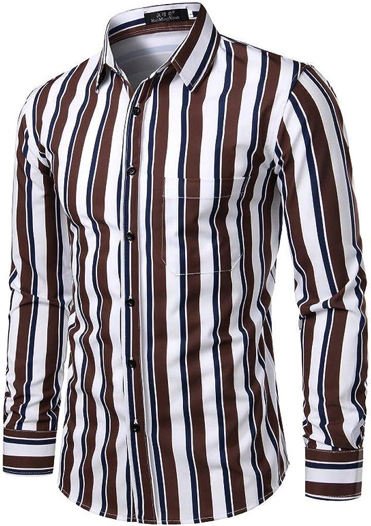 Camisa Hombre Slim Fit, Moda Camisa Superior de Casual Solapa Manga Larga con Botones Suelta con Estampado para Hombre: Amazon.es: Ropa y accesorios