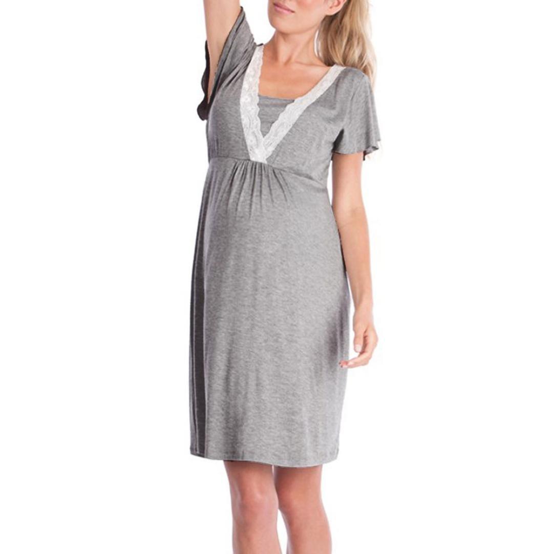 ღ Abiti Premaman Elegante ღ feiXIANG® Abito Di Pizzo donna gravidanza  infermieristica maternità abito di e59578ddfbf