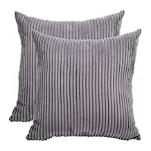 "Pillow Covers,Famibay Square Solid Cushion Cover With Invisible Zipper For Sofa,Decorative Throw Pillow Case Velvet Corduroy pillow covers decorative (Grey, 26""x26"")"