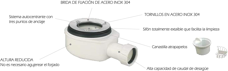 Plato DE Ducha Resina Modelo Eros (Blanco, 100 X 70): Amazon.es: Hogar
