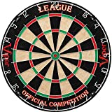 Viper League Regulation Bristle Steel Tip Dartboard Set with Staple-Free Bullseye, Galvanized Metal Thin Radial Spider Wire; High-Grade Compressed Sisal Board with Rotating Number Ring for Extending Life