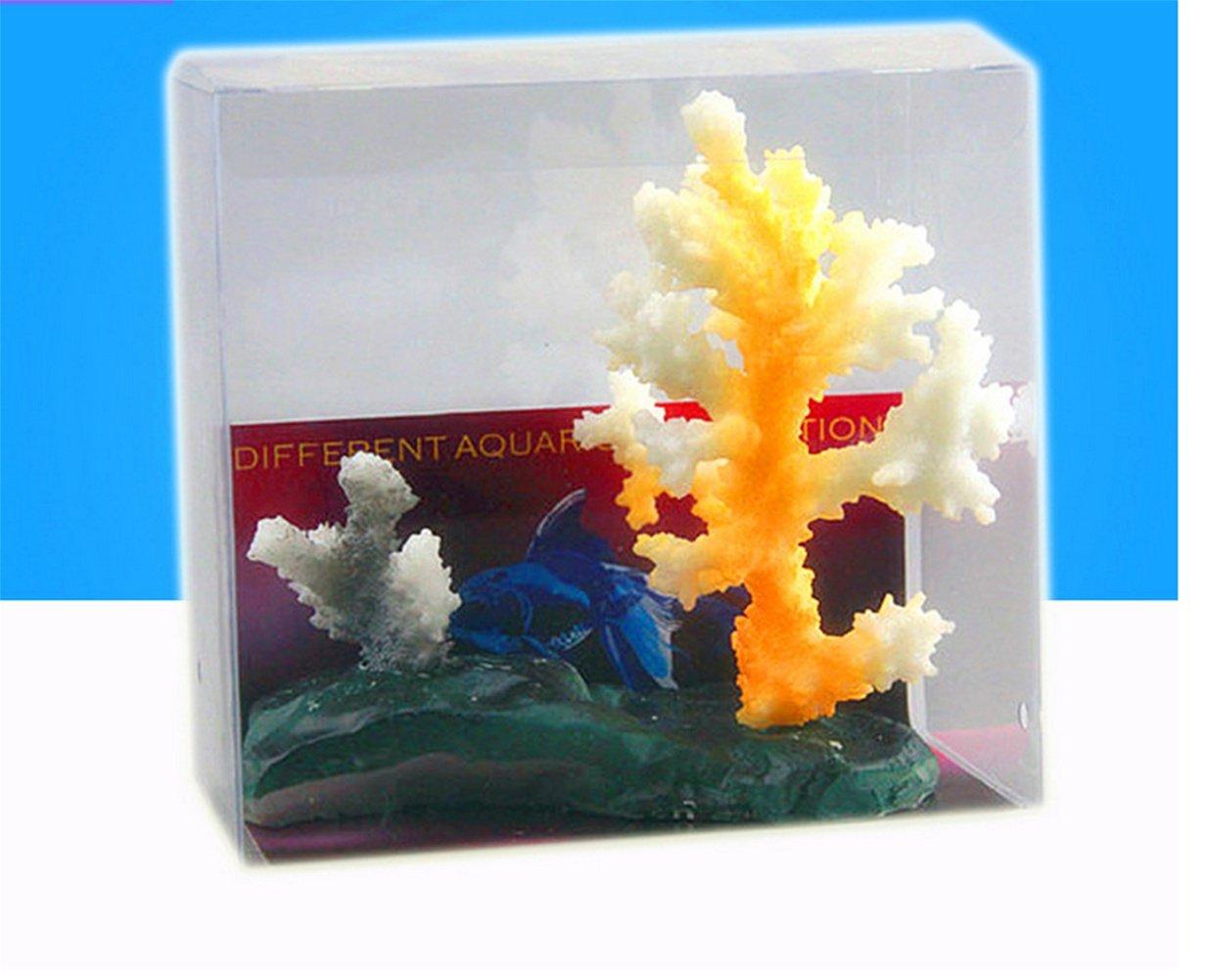 GuiXinWeiHeng (6PCS)Glowing Effect Artificial Coral Plant for Fish Tank, Decorative Aquarium Ornament (random color)