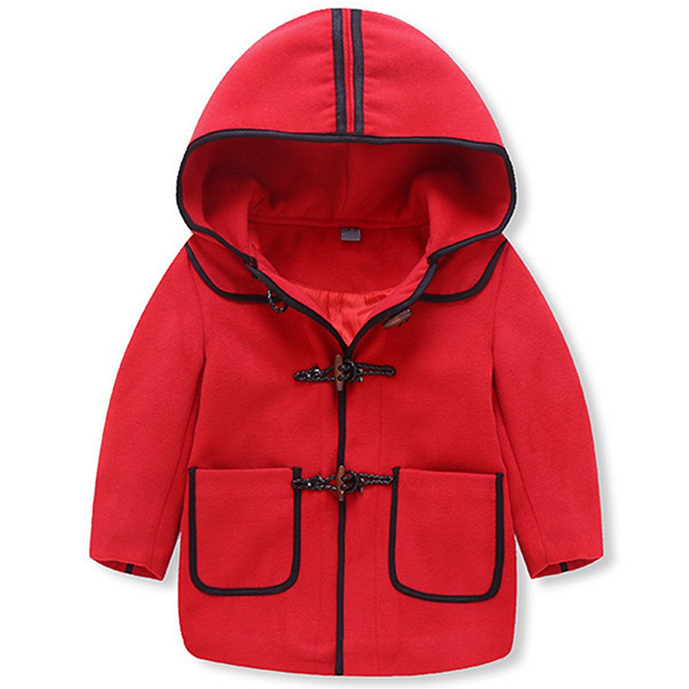 LJYH Little Boy's Fashion Hooded Jacket Kids Wool Toggle Coat for 2-8T