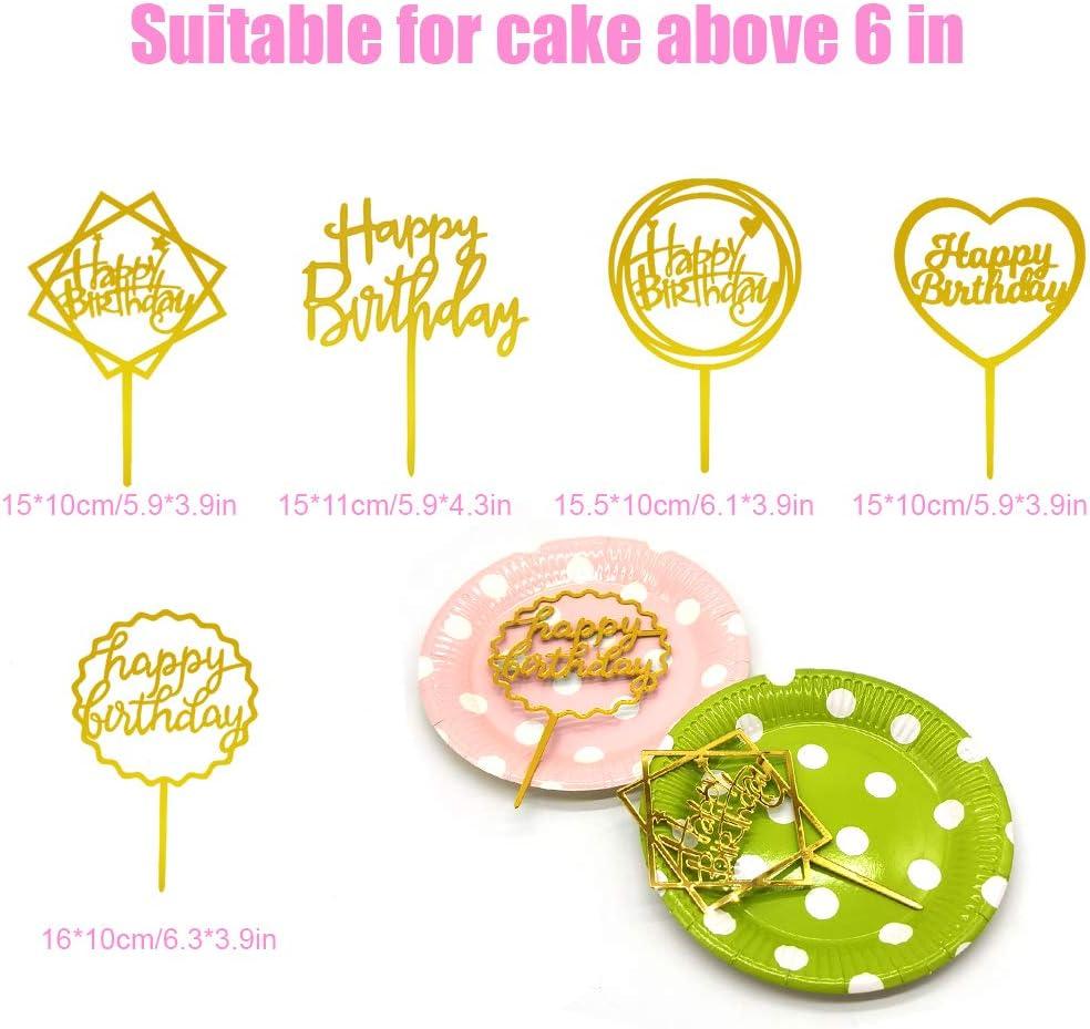 Cake Topper Acrilico Oro per Decorazione Torta di Compleanno 5 Pezzi SwirlColor Cake Topper Compleanno