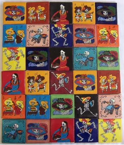 30-hand-painted-day-of-the-dead-talavera-tiles-2-x-2-by-color-y-tradicion
