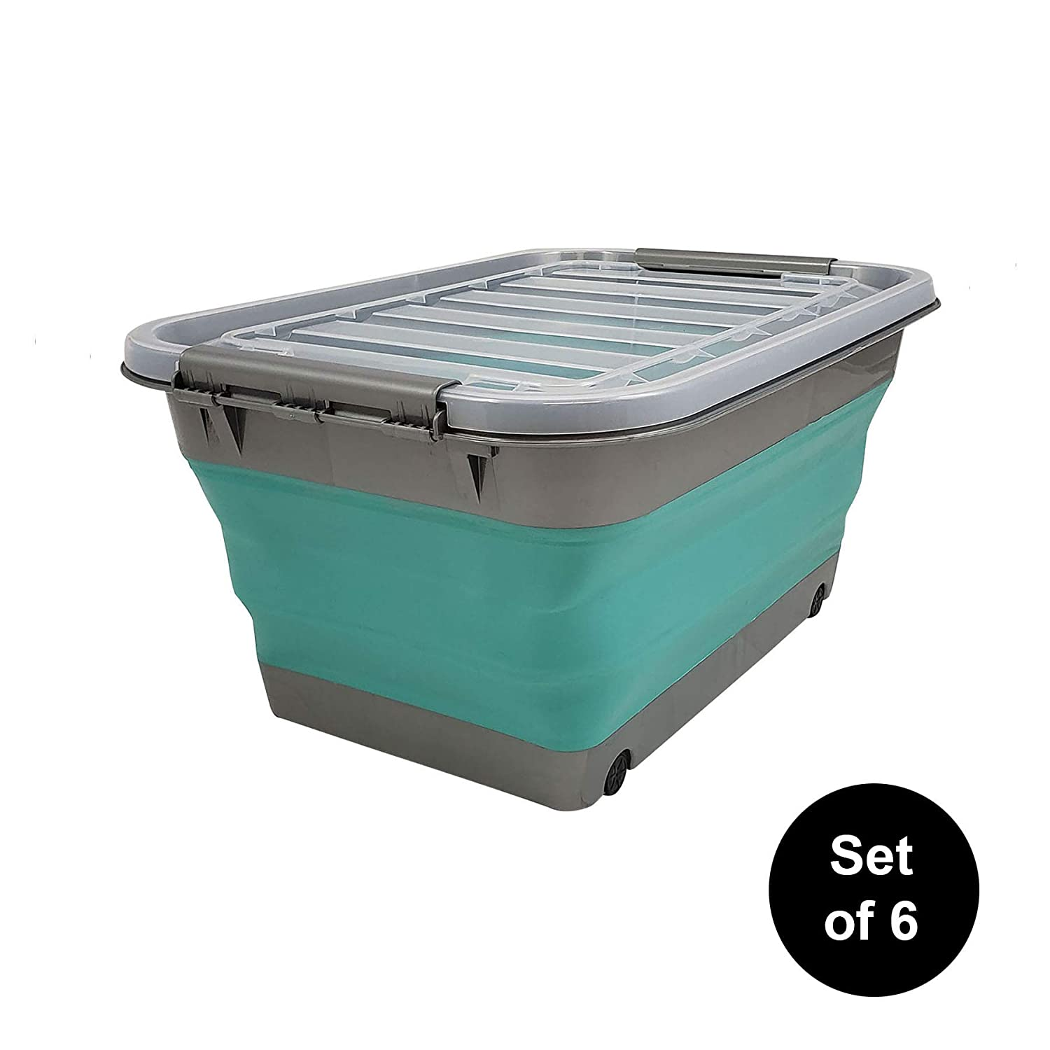 HOMZ Store N Stow(TM) 8 Gallon Latching Container with Wheels, Grey and Teal Base with Clear Lid Collapsible Storage, Set of 6, 6 Sets