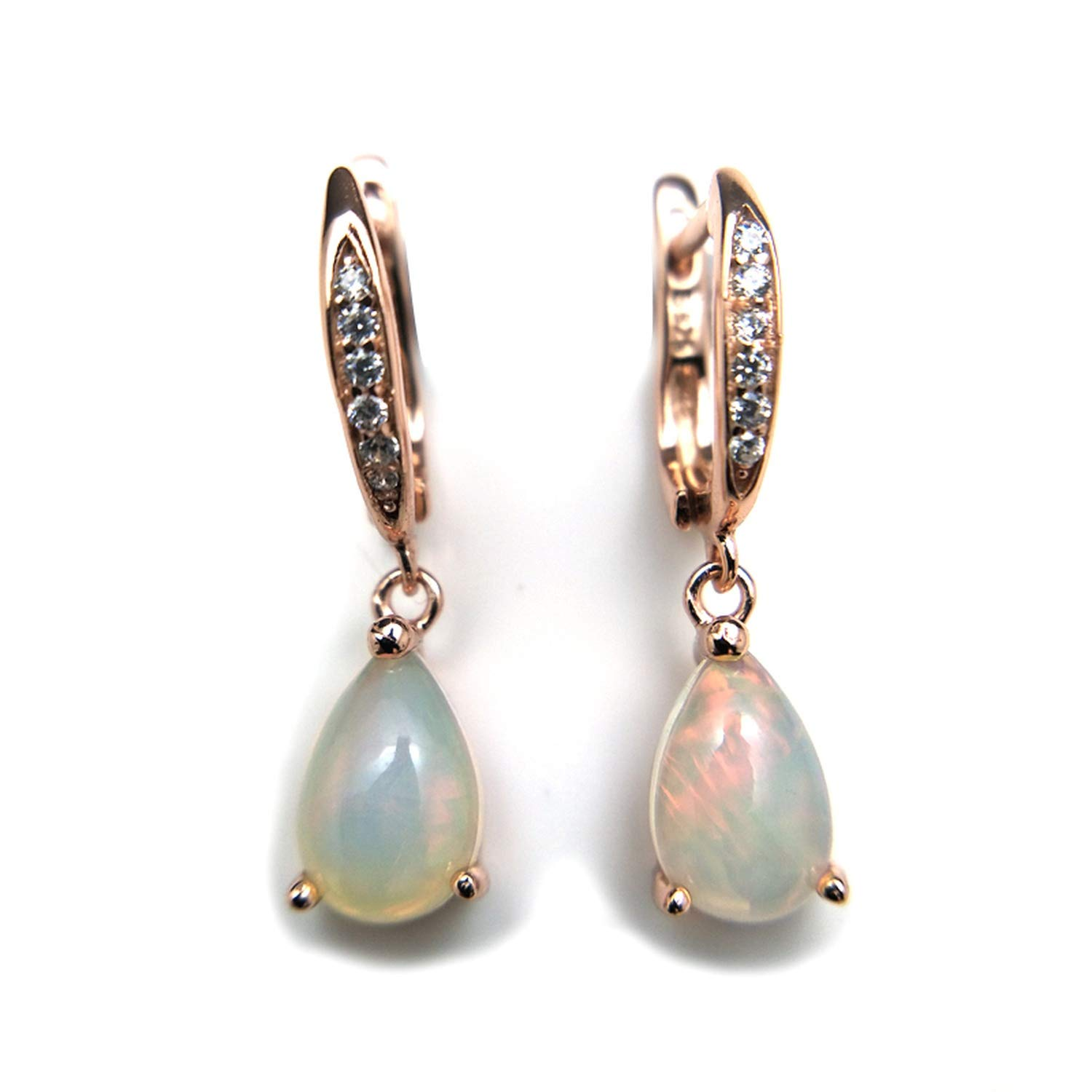 Natural rainbow ehiopian opal dangle earring in 925 sterling silver simple elegant gemstone jewelry for girls with gift box