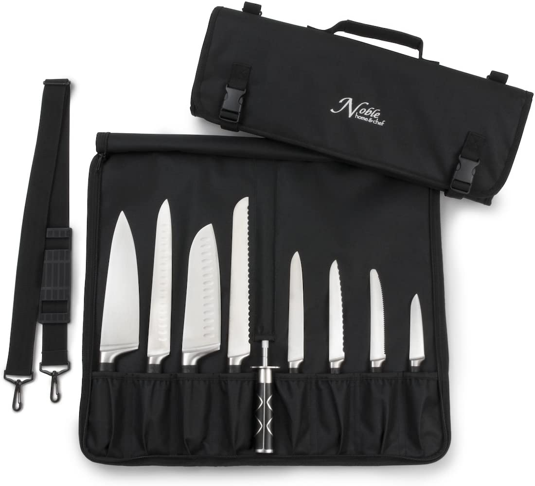 Chef Knife Bag (8+ Slots) is Padded and Holds 8 Knives PLUS Your Meat Cleaver, Knife Steel, 4 Utensils, and a Zipped Pouch for Tools! Durable Knife Carrier also Includes a Name Card Holder. (Bag Only): Kitchen & Dining