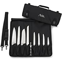 Chef Knife Bag (8+ Slots) is Padded and Holds 8 Knives PLUS Your Meat Cleaver, Knife Steel, 4 Utensils, and a Zipped…