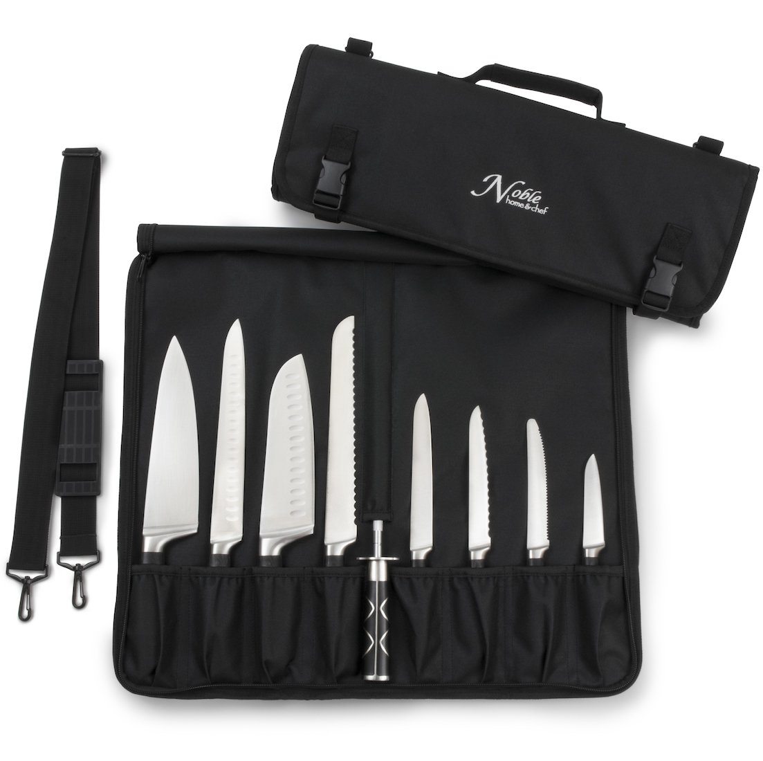 Chef Knife Bag (8+ Slots) is Padded and Holds 8 Knives PLUS Your Meat Cleaver, Knife Steel, 4 Utensils, AND a Zipped Pouch for Tools! Durable Knife Carrier also Includes a Name Card Holder. (Bag Only) by Noble Home & Chef