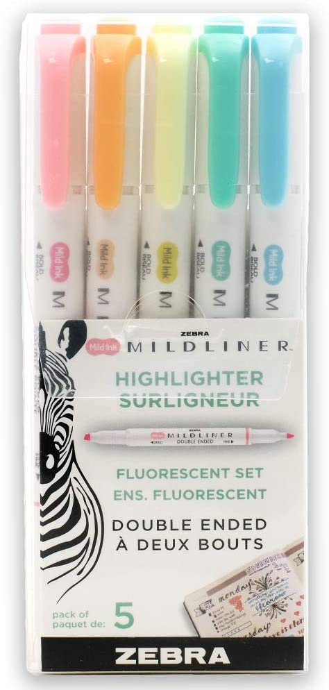 Zebra Pen Mildliner, Double Ended Highlighter, Broad and Fine Tips, Assorted Fluorescent Colors, 5-Count
