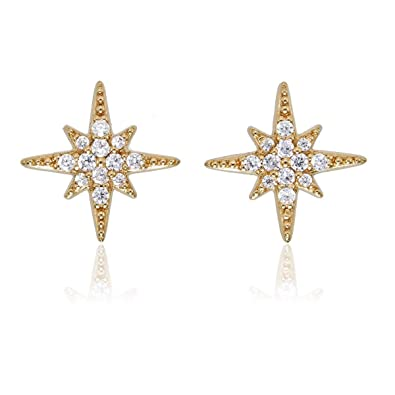 2aefb8d462cae Diamond Treats Sparkling Star Stud Earrings with Flawless Cubic Zirconia in  925 Sterling Silver. These Sterling Silver Star Earrings in a Choice of ...