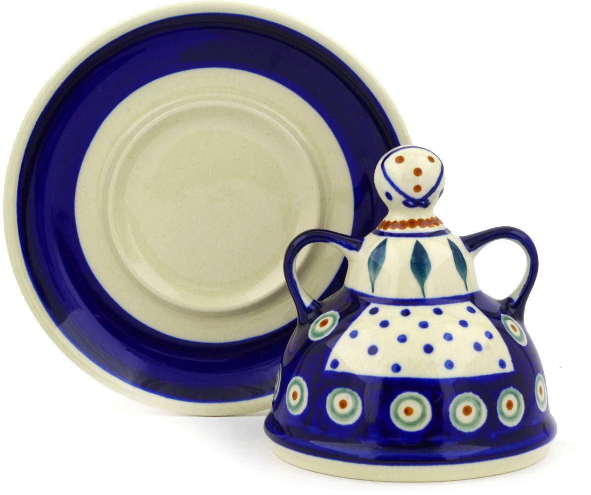 Polish Pottery 5½-inch Cheese Lady (Peacock Leaves Theme) + Certificate of Authenticity Boleslawiec
