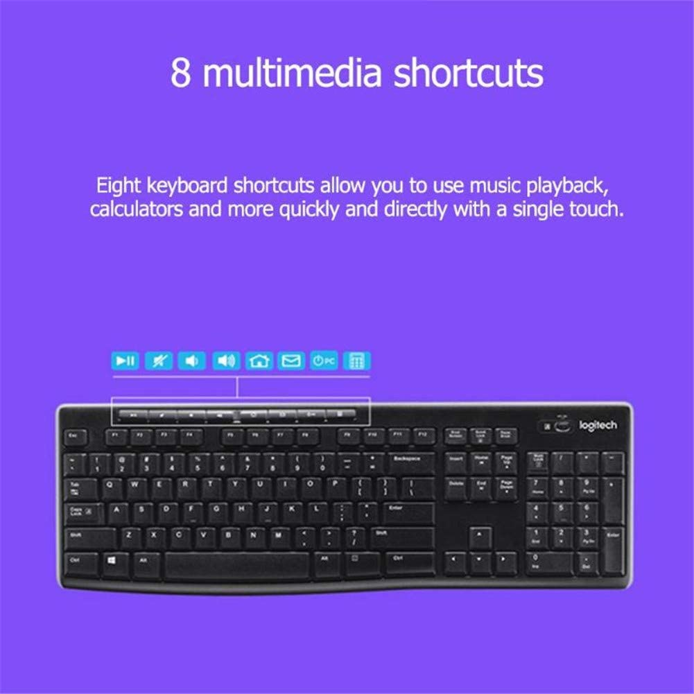 Mouse Ultra-Thin Compact and Quiet with Eight Shortcuts for Desktop Laptops WZHESS MK270 Wireless Keyboard Combination Set 2.4G Wireless Optical Mouse