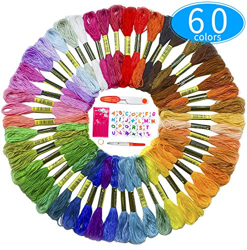 Premium Embroidery Thread for Friendship Bracelet String – 60 Colors Coded as DMC Embroidery Floss – Cross Stitch, Any Thread or String Craft – Best Bracelets Making Kit Gift for Girls with Extras